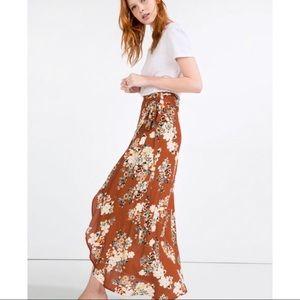 Zara wrap floral skirt